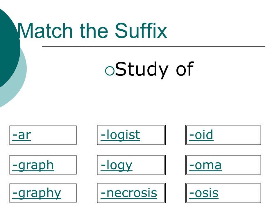 Match the Suffix Study of -ar -logist -oid -graph -logy -oma -graphy