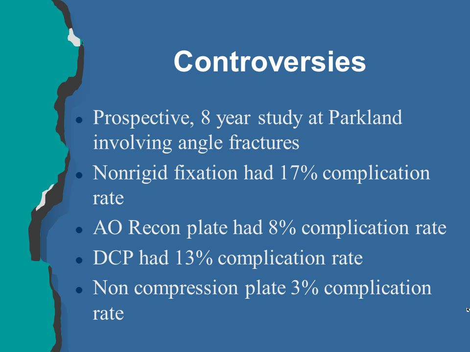 Controversies Prospective, 8 year study at Parkland involving angle fractures. Nonrigid fixation had 17% complication rate.