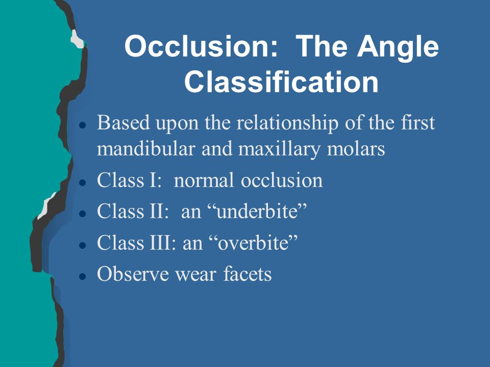 Occlusion: The Angle Classification