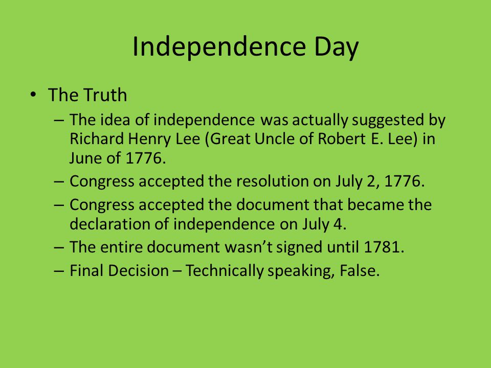 Independence Day The Truth