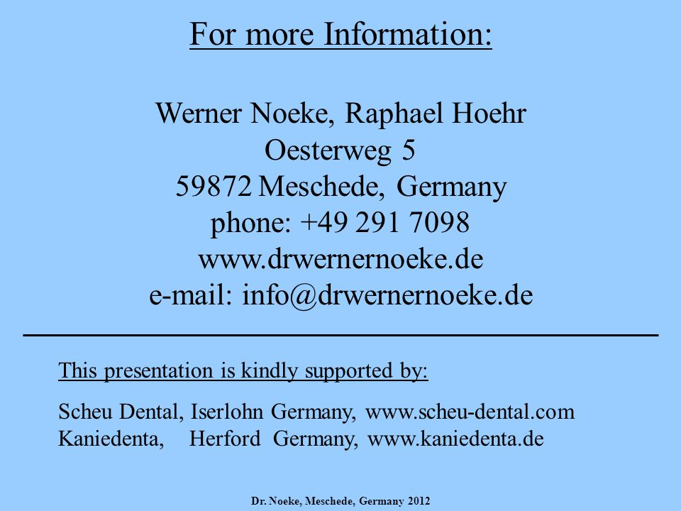 For more Information: Werner Noeke, Raphael Hoehr Oesterweg Meschede, Germany phone: