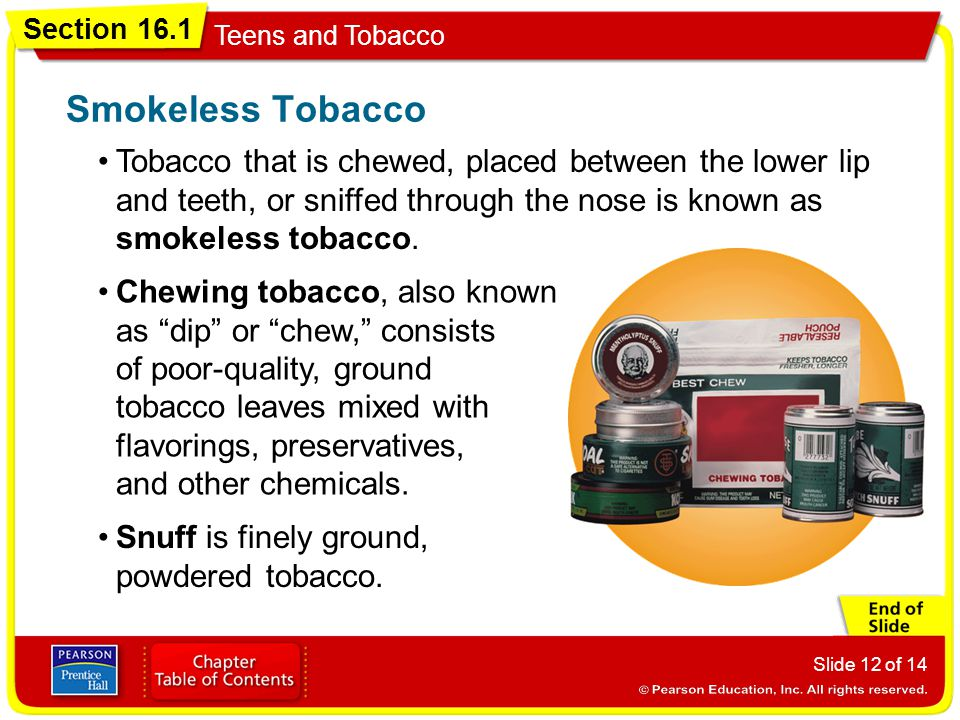 Smokeless Tobacco Tobacco that is chewed, placed between the lower lip and teeth, or sniffed through the nose is known as smokeless tobacco.