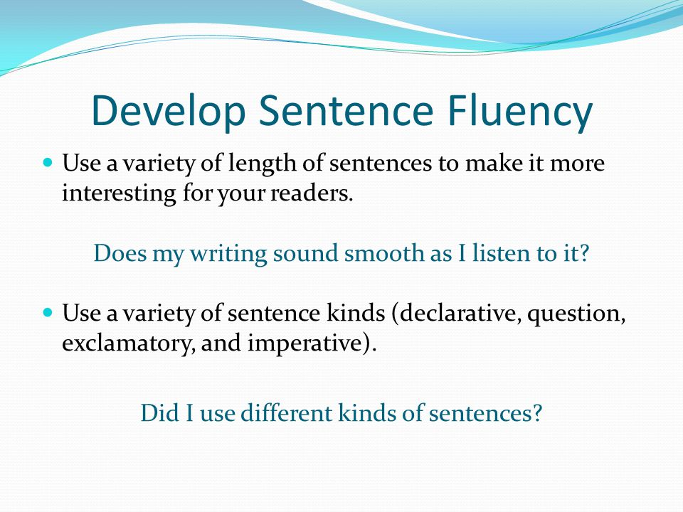 Develop Sentence Fluency