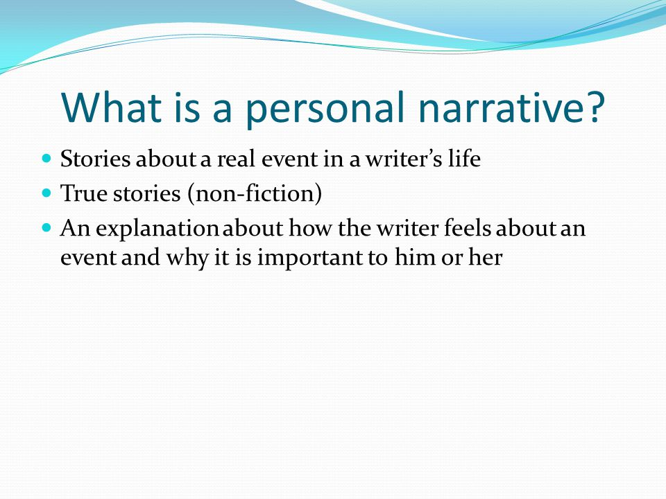 What is a personal narrative
