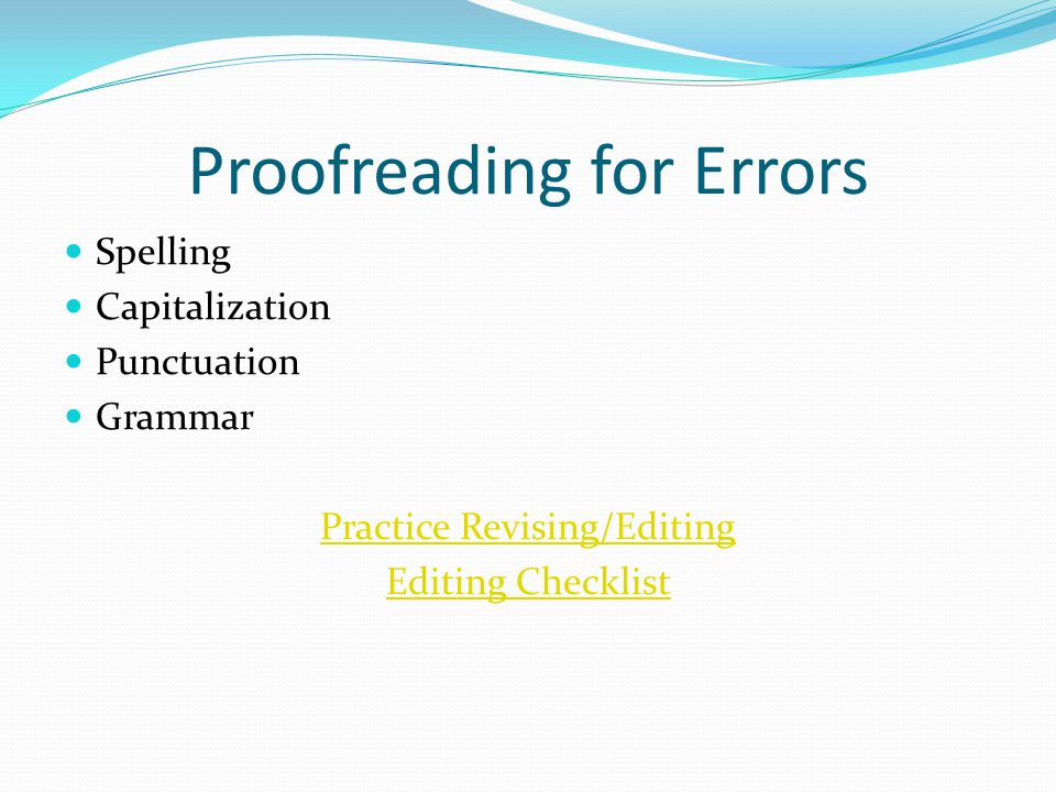 Proofreading for Errors