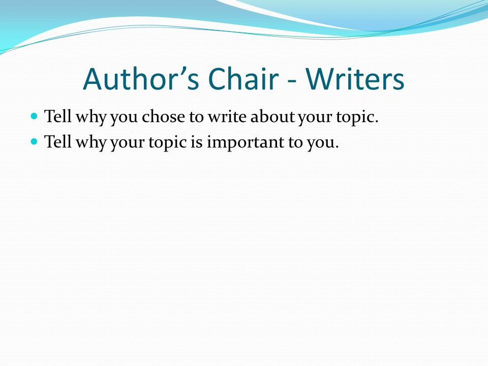Author's Chair - Writers