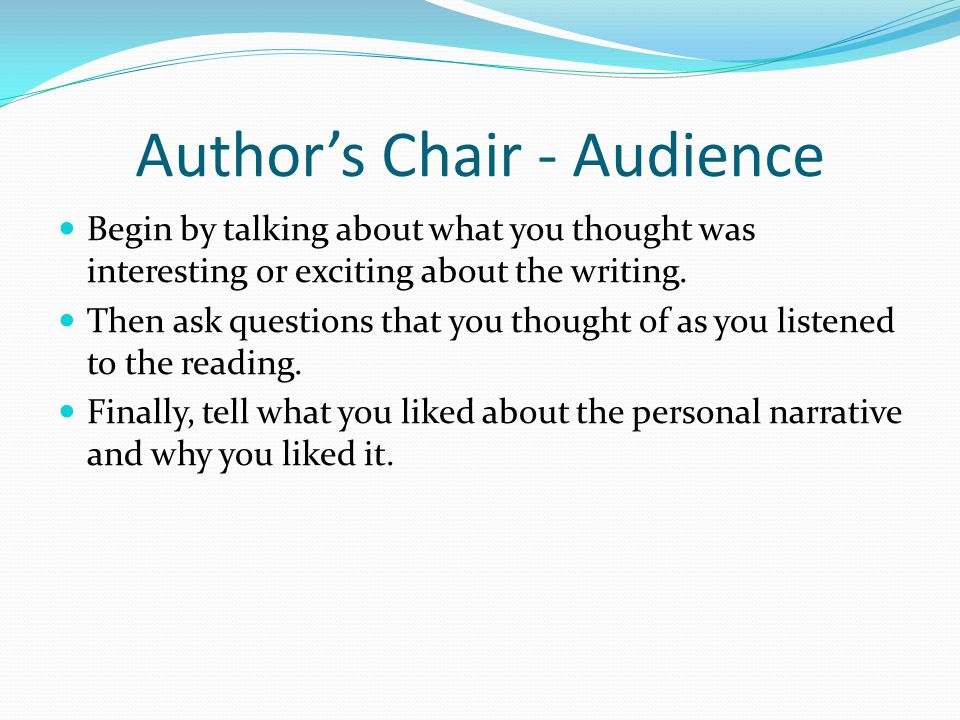 Author's Chair - Audience
