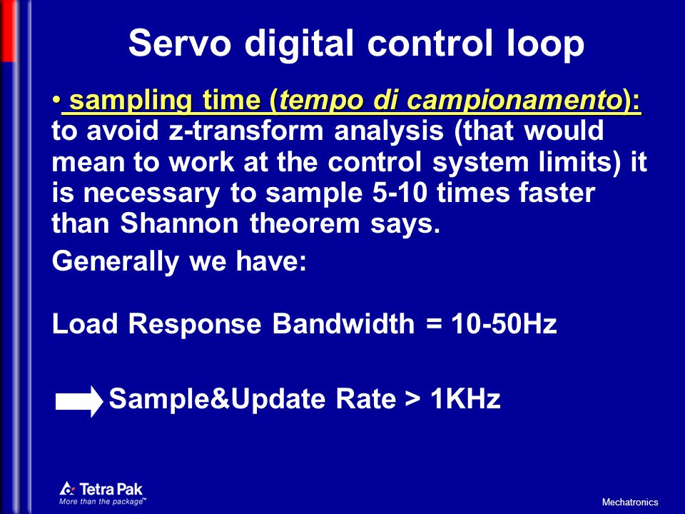 Servo digital control loop