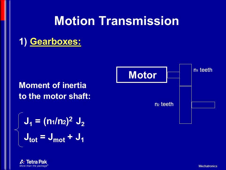 Motion Transmission 1) Gearboxes: J1 = (n1/n2)2 J2 Jtot = Jmot + J1