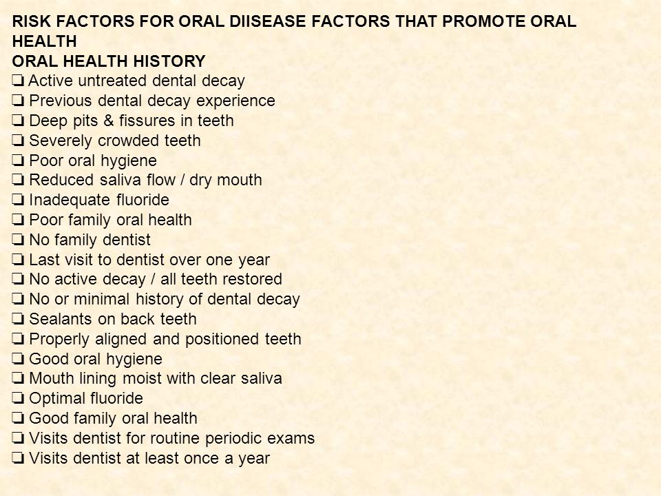 RISK FACTORS FOR ORAL DIISEASE FACTORS THAT PROMOTE ORAL HEALTH