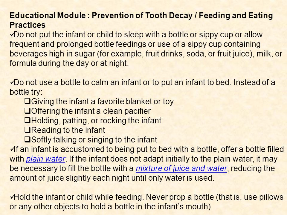 Educational Module : Prevention of Tooth Decay / Feeding and Eating Practices