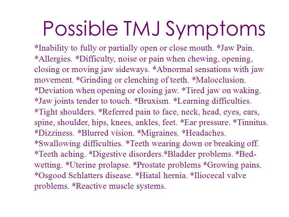 Possible TMJ Symptoms