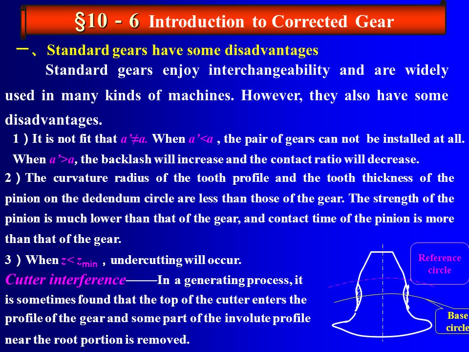 §10-6 Introduction to Corrected Gear
