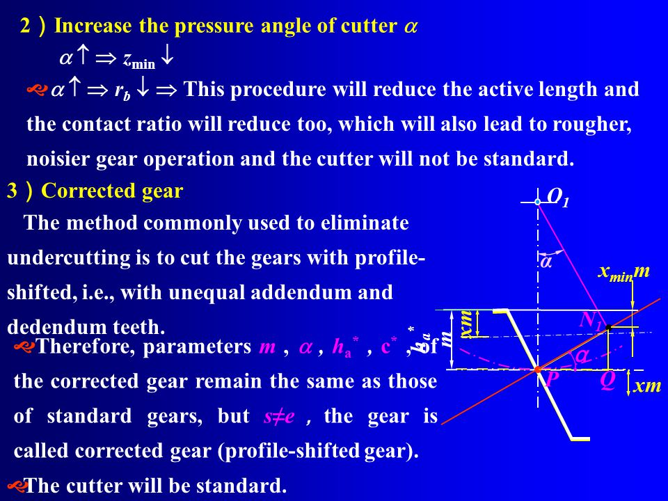 2)Increase the pressure angle of cutter a