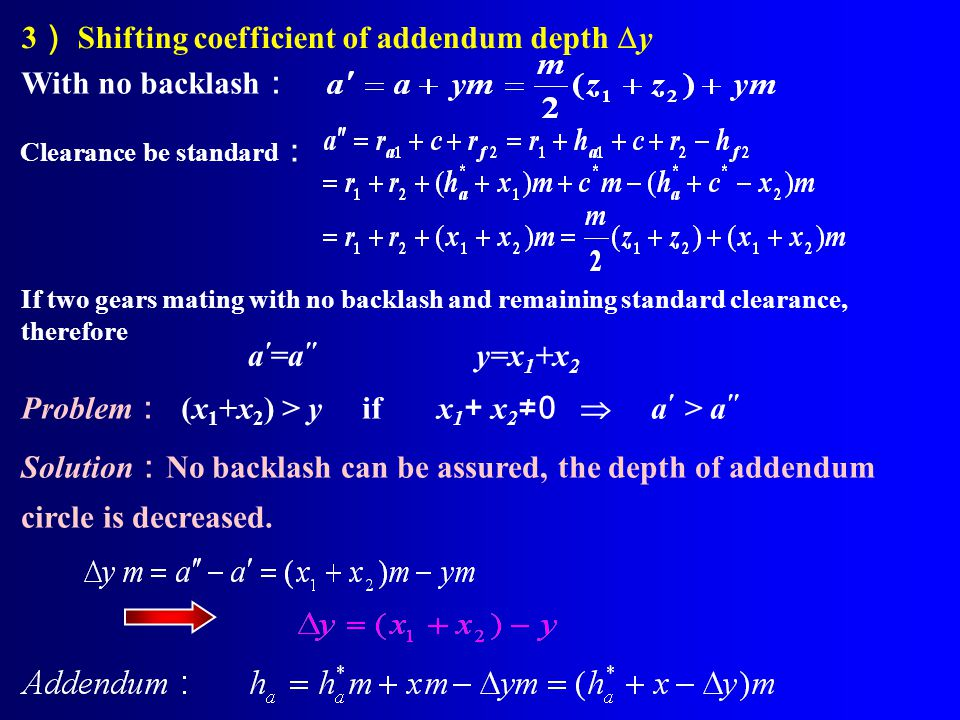 3) Shifting coefficient of addendum depth y With no backlash: