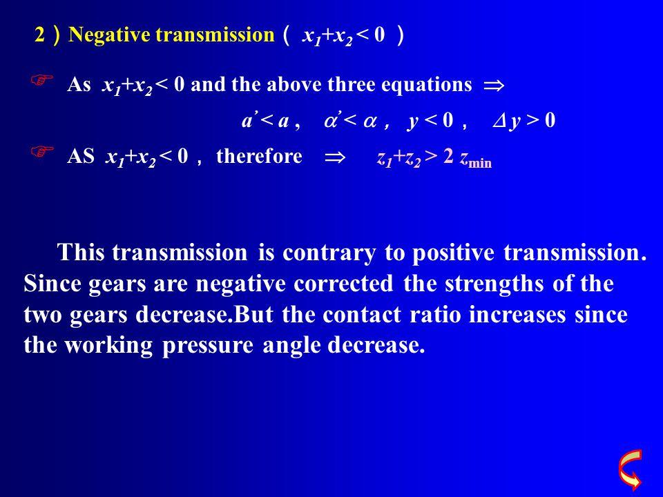 2)Negative transmission( x1+x2 < 0 )