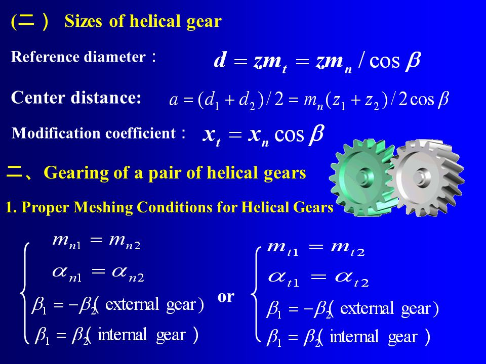 (二) Sizes of helical gear
