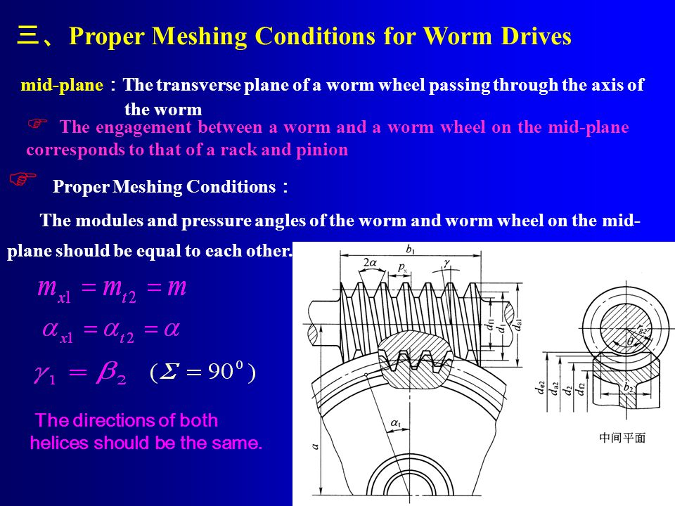 三、Proper Meshing Conditions for Worm Drives