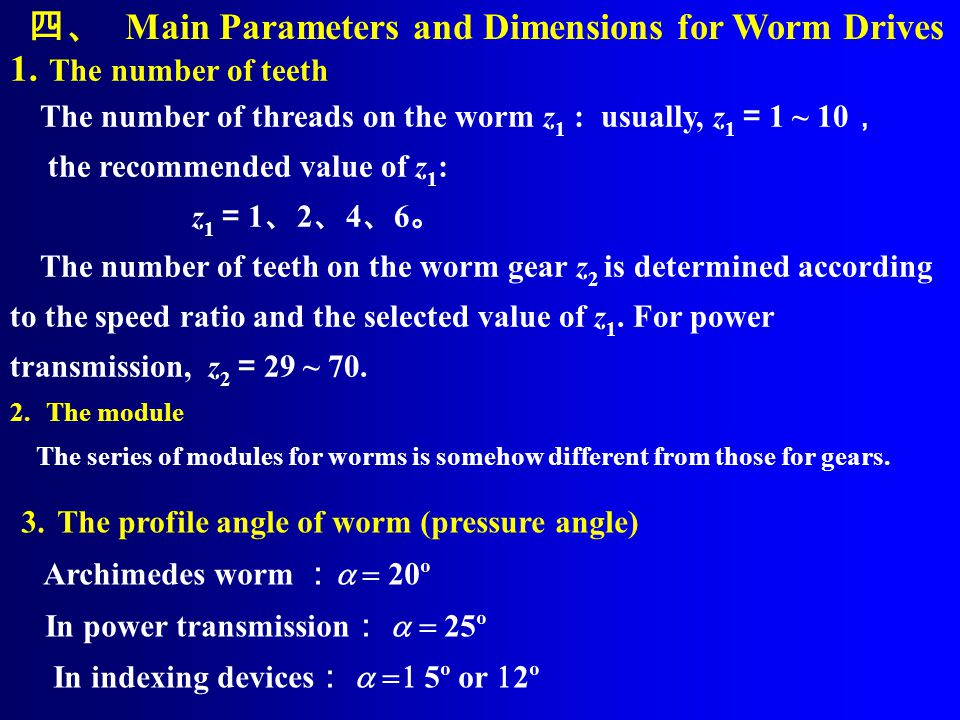 四、 Main Parameters and Dimensions for Worm Drives The number of teeth
