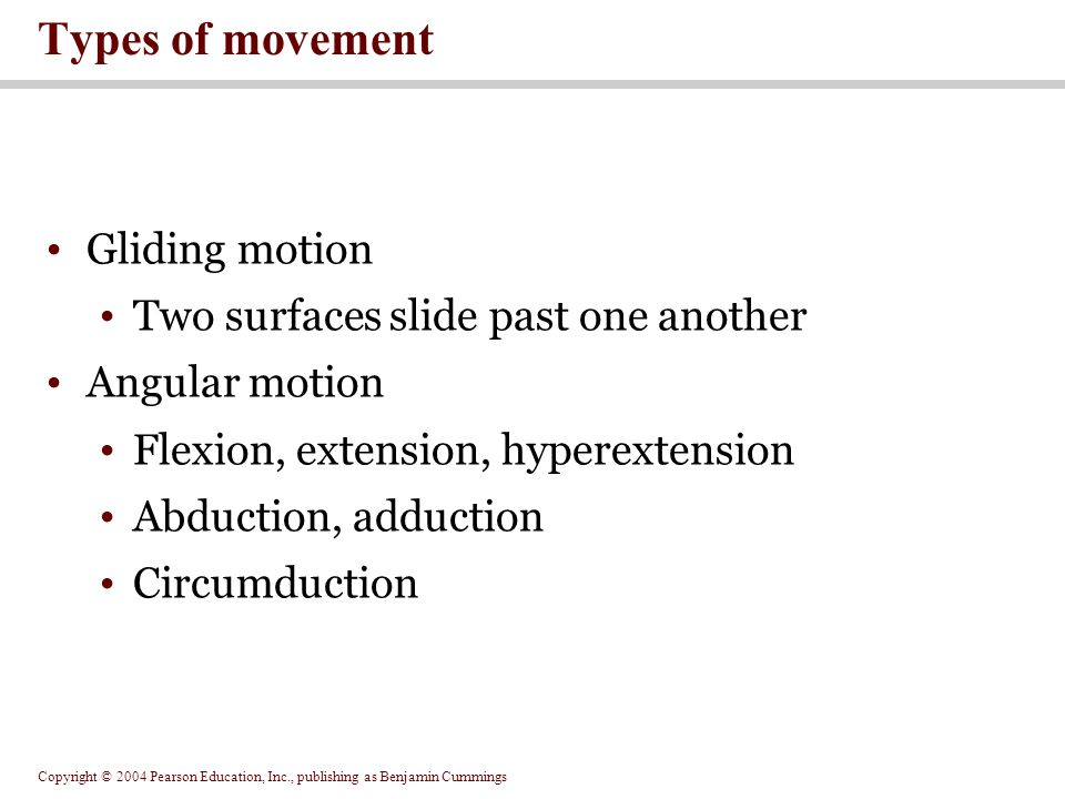 Types of movement Gliding motion Two surfaces slide past one another