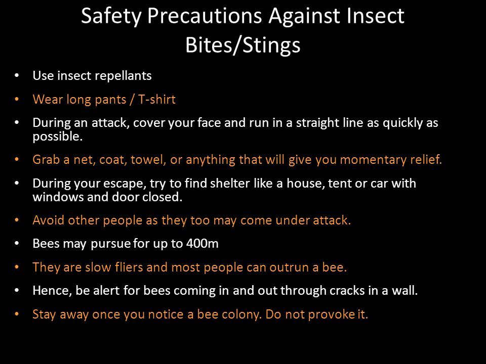 Safety Precautions Against Insect Bites/Stings