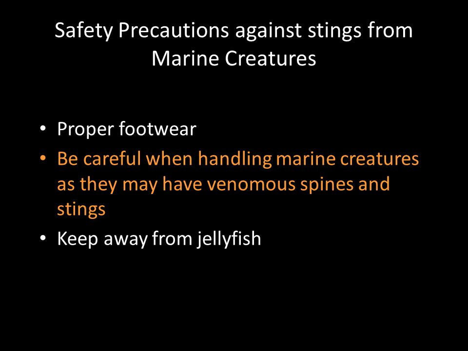 Safety Precautions against stings from Marine Creatures