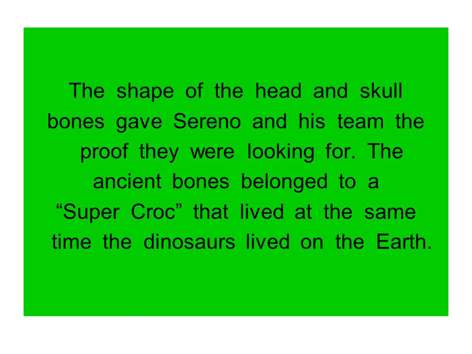 The shape of the head and skull bones gave Sereno and his team the