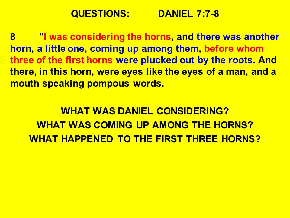 WHAT WAS DANIEL CONSIDERING WHAT WAS COMING UP AMONG THE HORNS