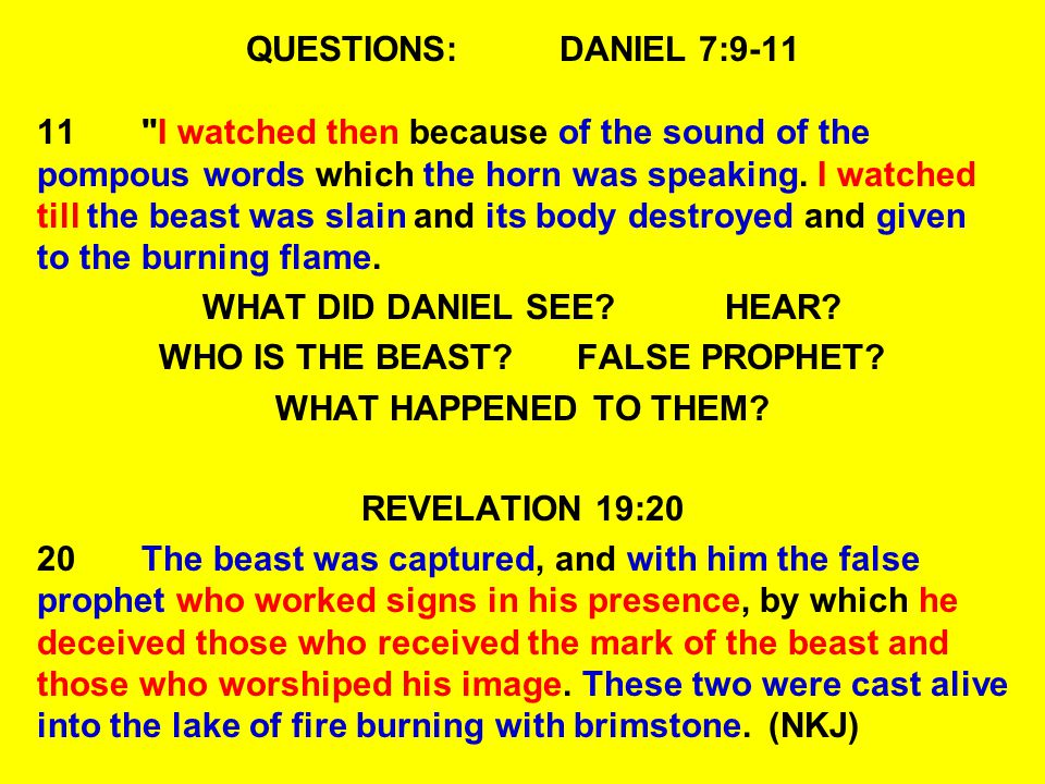 WHAT DID DANIEL SEE HEAR WHO IS THE BEAST FALSE PROPHET
