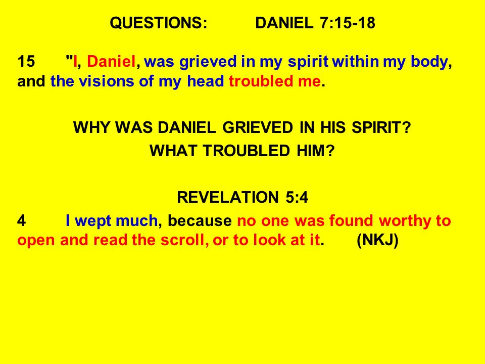 WHY WAS DANIEL GRIEVED IN HIS SPIRIT