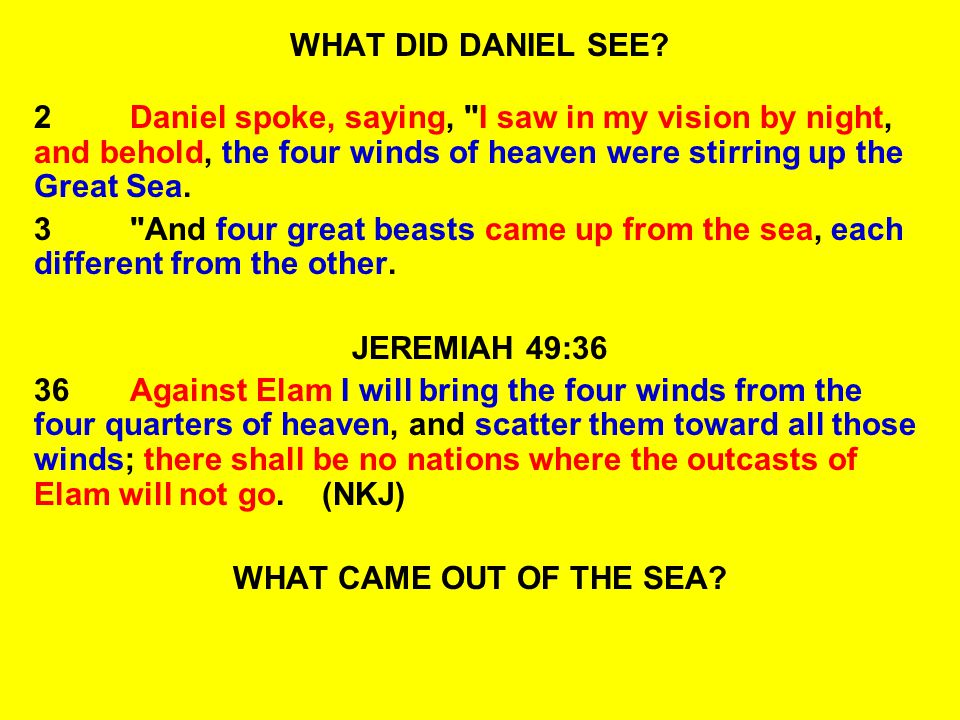 WHAT DID DANIEL SEE 2 Daniel spoke, saying, I saw in my vision by night, and behold, the four winds of heaven were stirring up the Great Sea.