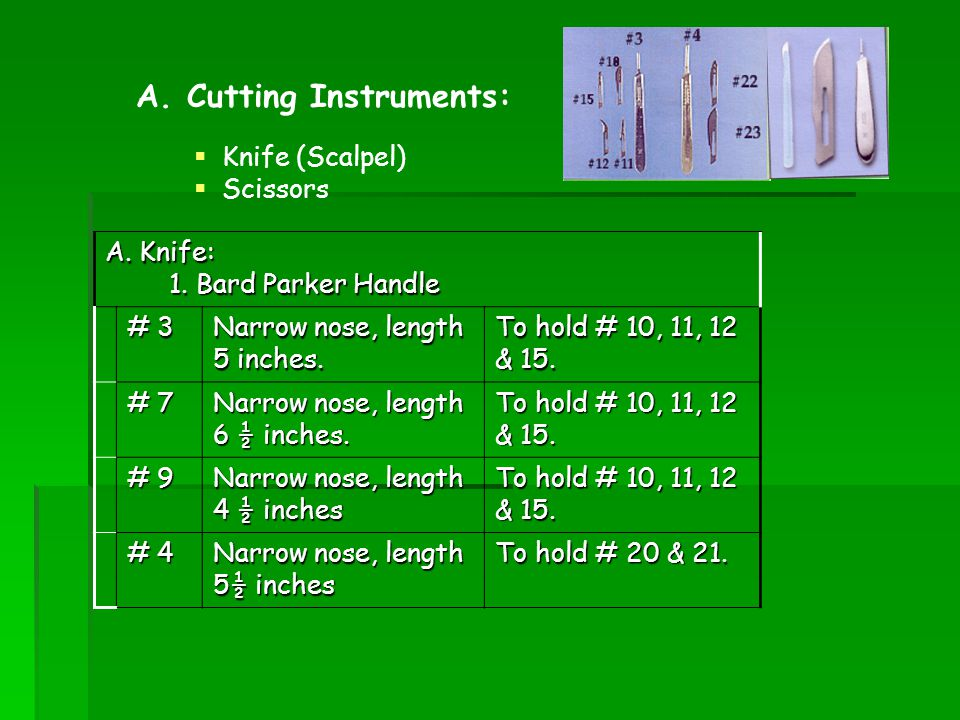 A. Cutting Instruments: