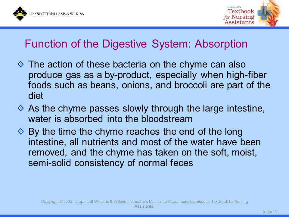 Function of the Digestive System: Absorption