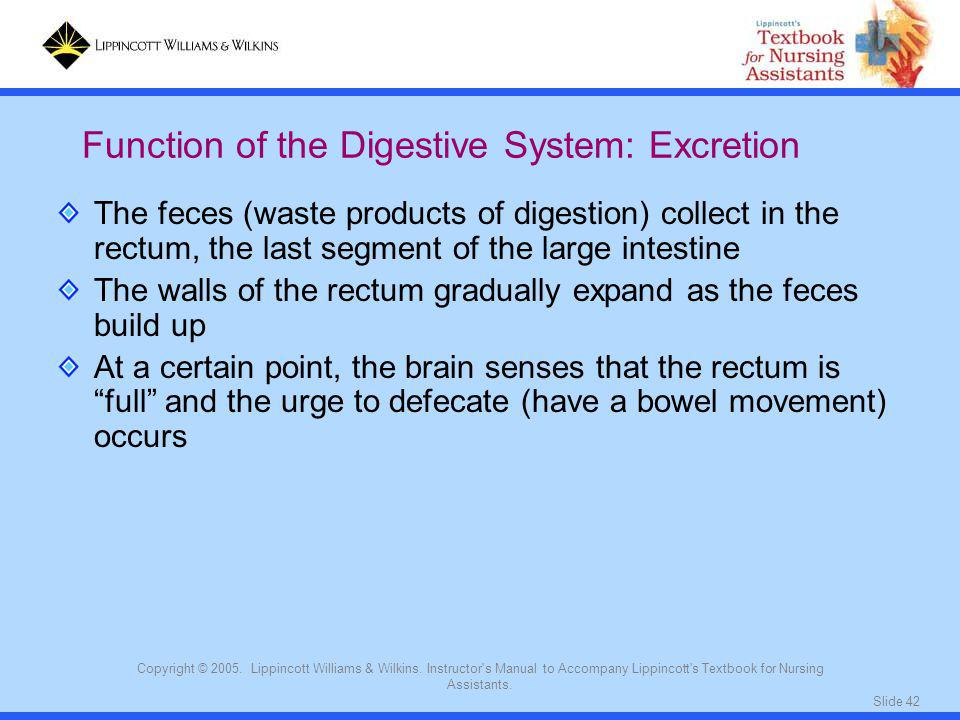 Function of the Digestive System: Excretion