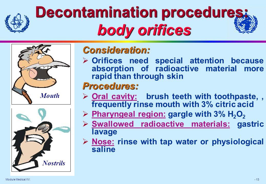 Decontamination procedures: body orifices