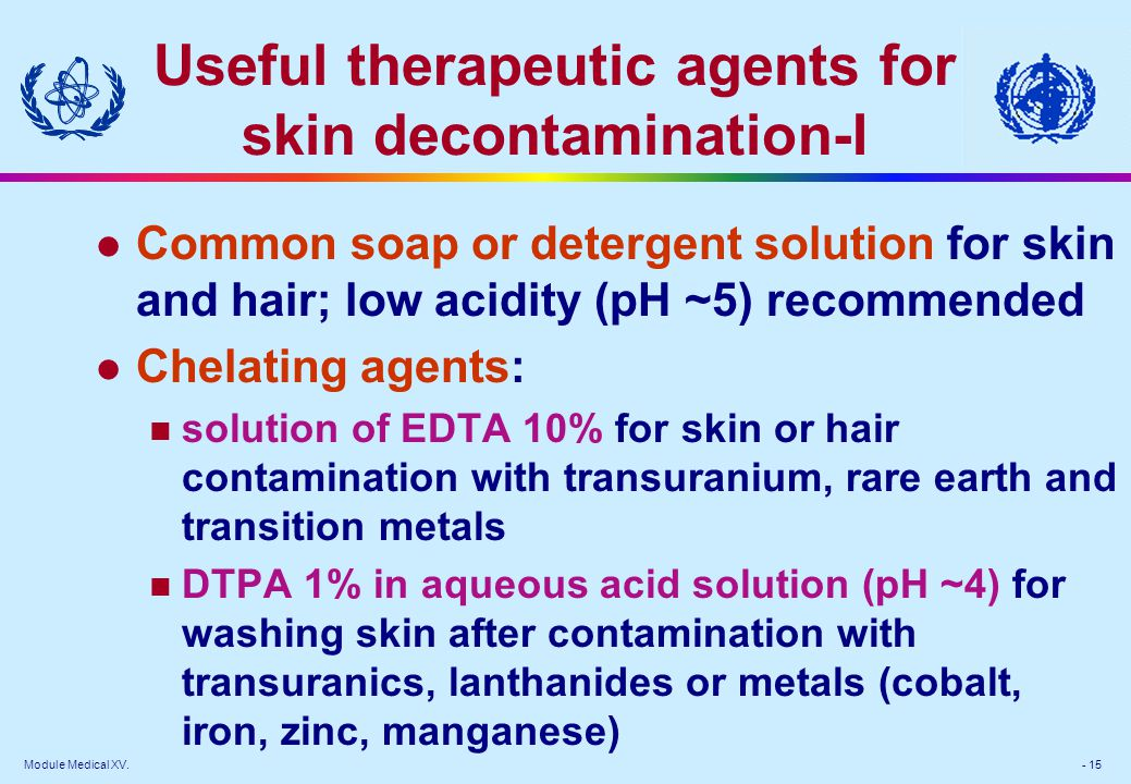 Useful therapeutic agents for skin decontamination-I