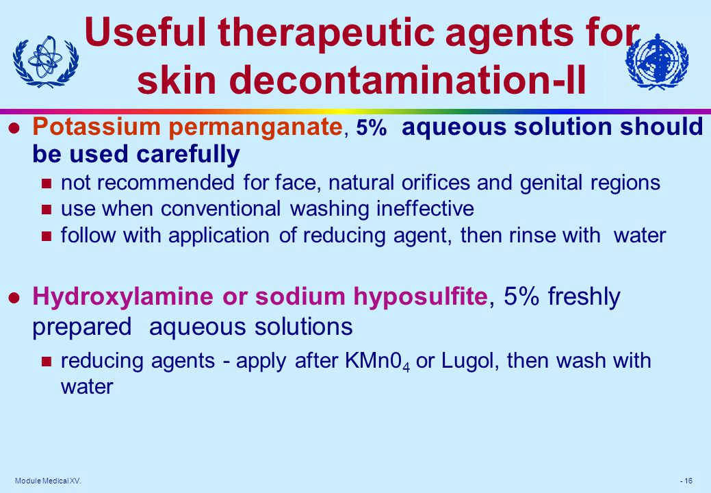 Useful therapeutic agents for skin decontamination-II