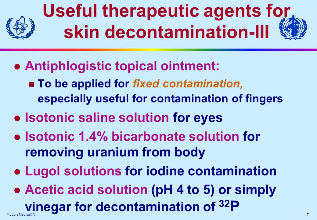 Useful therapeutic agents for skin decontamination-III