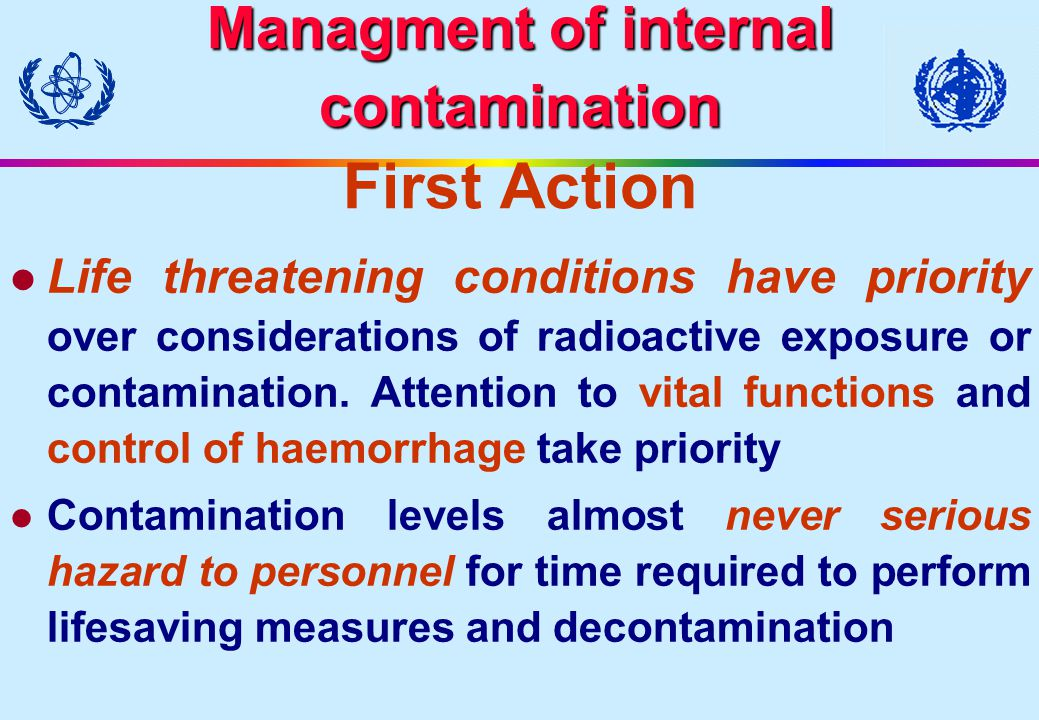 Managment of internal contamination First Action