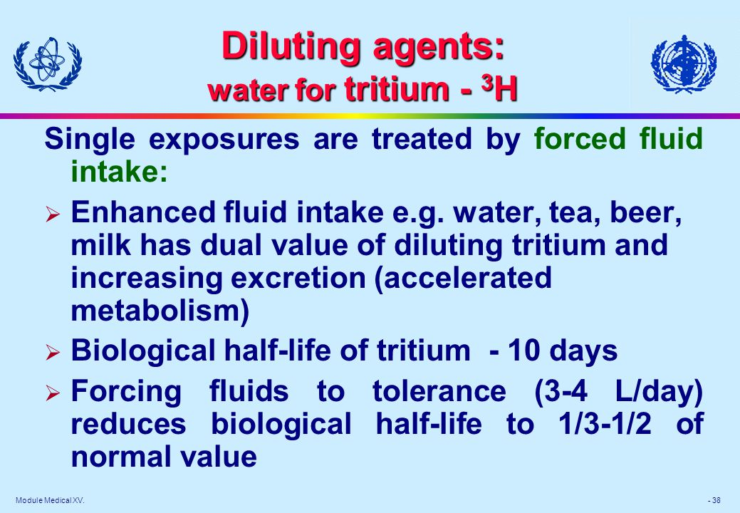 Diluting agents: water for tritium - 3H