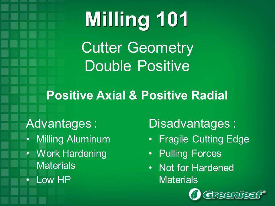 Cutter Geometry Double Positive