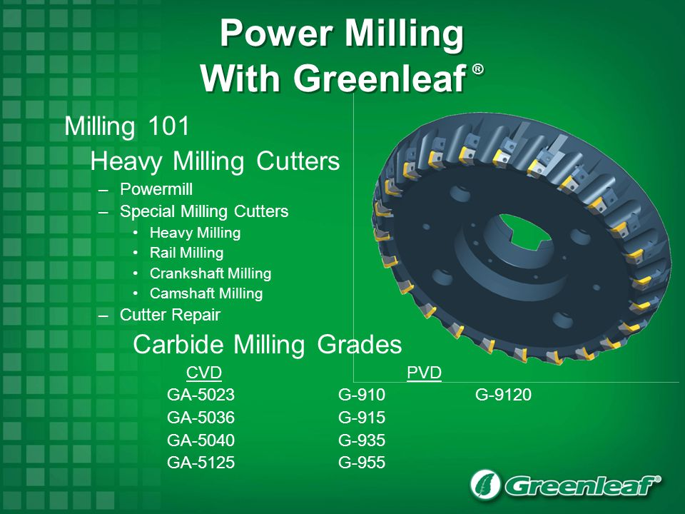 Power Milling With Greenleaf ®