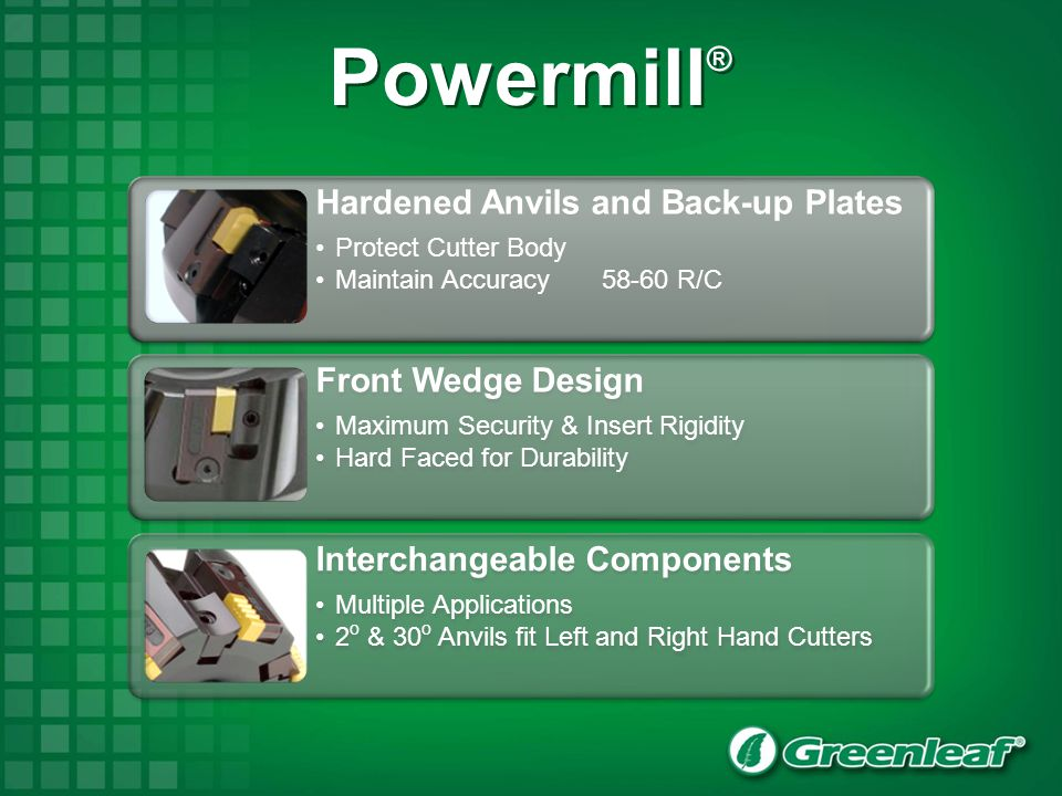 Powermill® 37 Hardened Anvils and Back-up Plates Protect Cutter Body