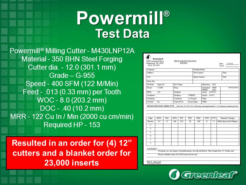 Powermill® Test Data. Powermill ® Milling Cutter - M430LNP12A. Material - 350 BHN Steel Forging.