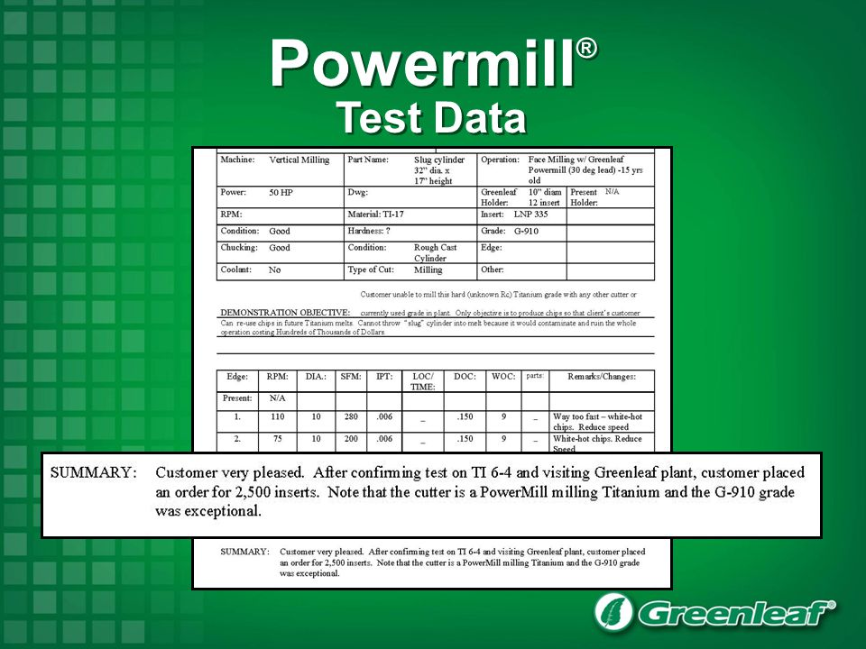 Powermill® Test Data 44