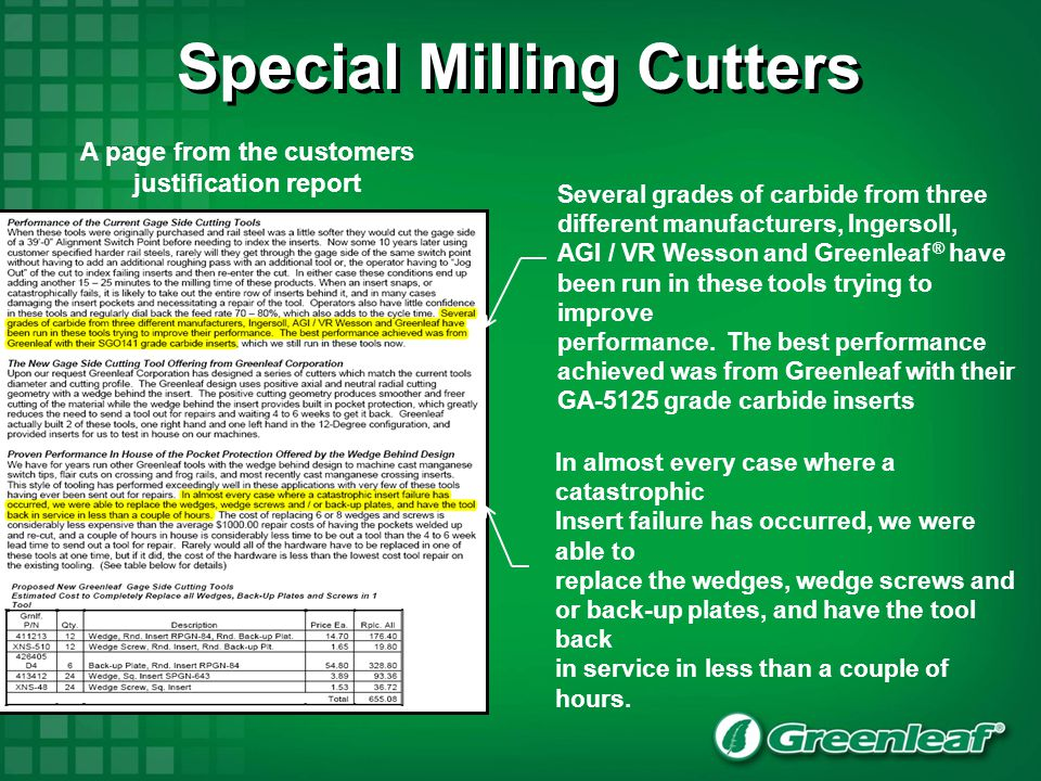 Special Milling Cutters A page from the customers