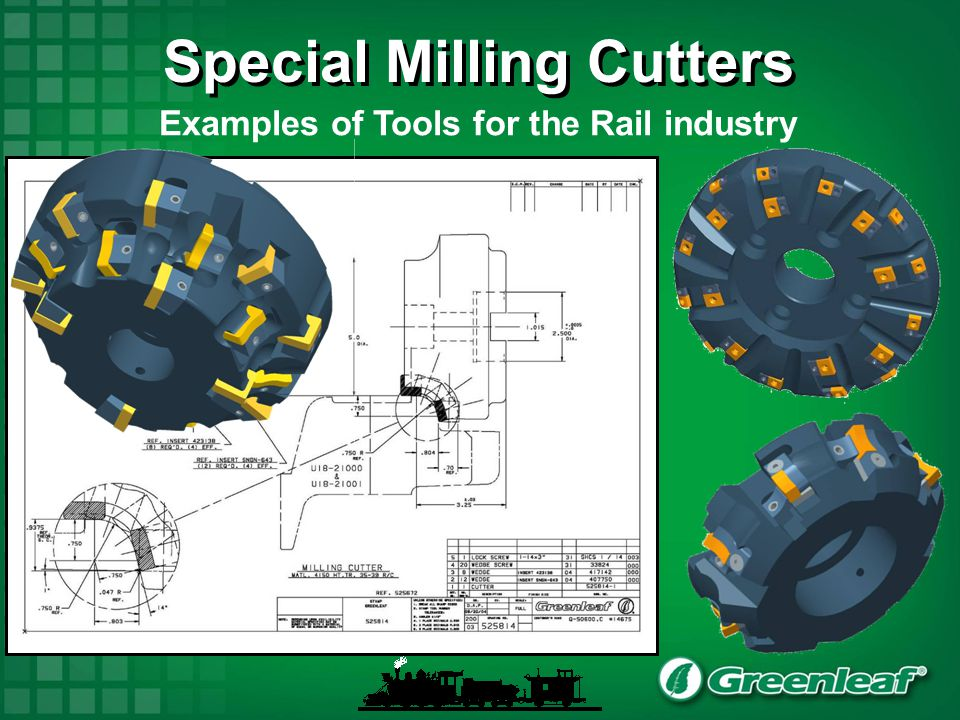 Special Milling Cutters Examples of Tools for the Rail industry
