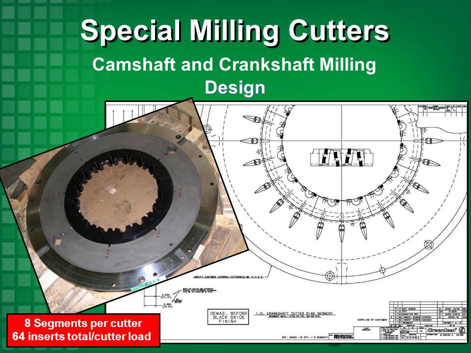 Special Milling Cutters 64 inserts total/cutter load