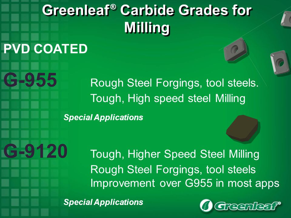 Greenleaf ® Carbide Grades for Milling