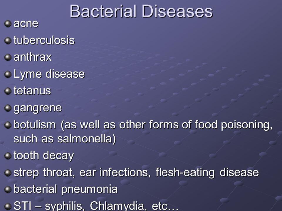 Bacterial Diseases acne tuberculosis anthrax Lyme disease tetanus